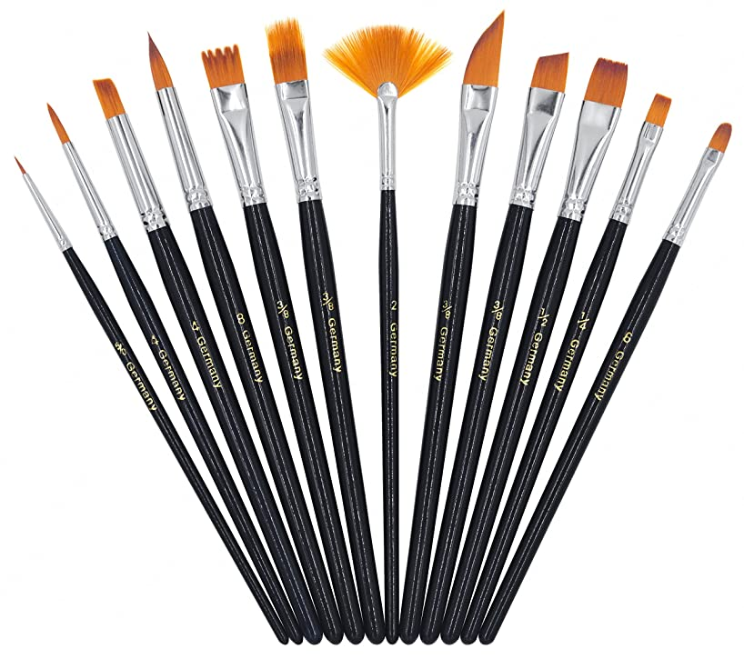 YOUSHARES Face Paint Brush Set - 12 Premium Painting Brushes for Watercolor, Oil and Acrylic Paints