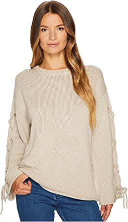 Lace-Up Sleeves Sweater