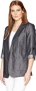 Ellen Tracy Womens ETMM74002 Roll Sleeve Boyfriend Blazer Jacket - Blue