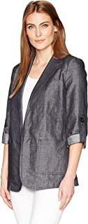 Ellen Tracy Womens ETMM74002 Roll Sleeve Boyfriend Blazer Jacket - Blue