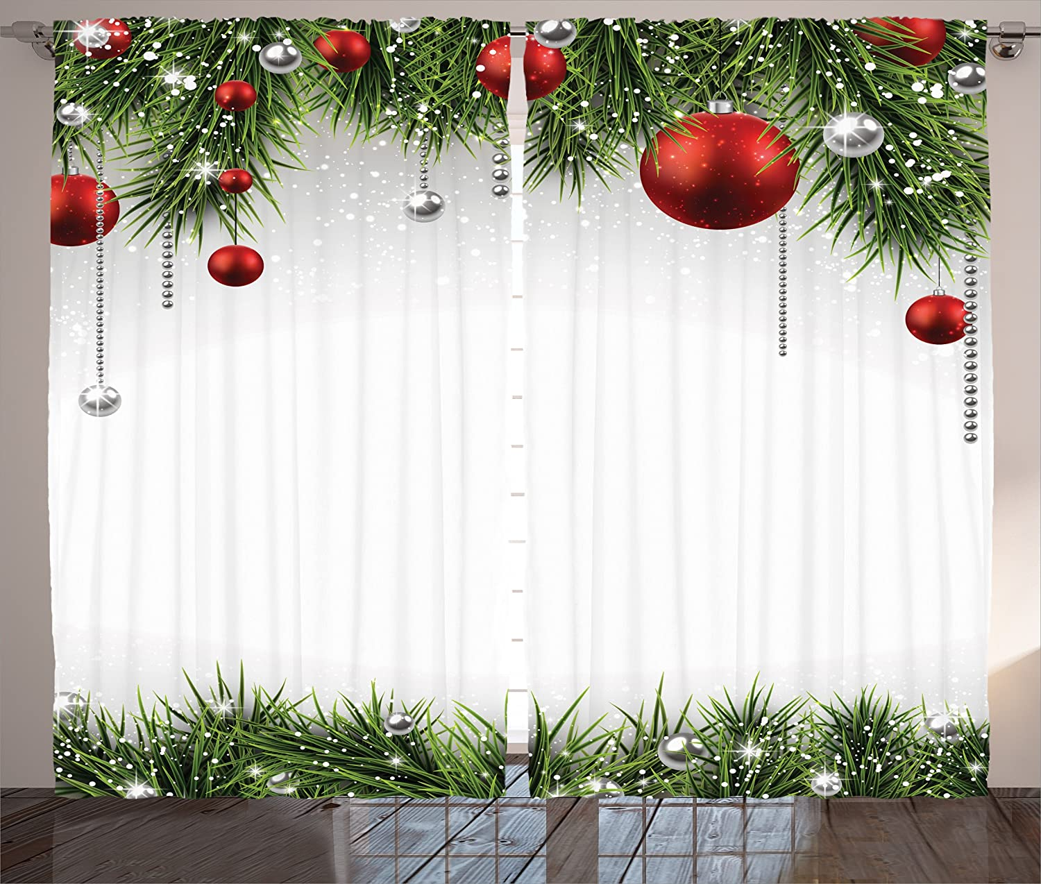 Ambesonne Christmas Decorations Curtains, Classical Christmas Ornaments and Baubles on Pine Tree Twig Tinsel Picture Print, Living Room Bedroom Decor, 2 Panel Set, 108 W X 90 L Inches, Green Red