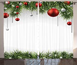 Ambesonne Christmas Curtains, Classical Christmas Ornaments and Baubles Coniferous Pine Tree Twig Tinsel Print, Living Room Bedroom Window Drapes 2 Panel Set, 108