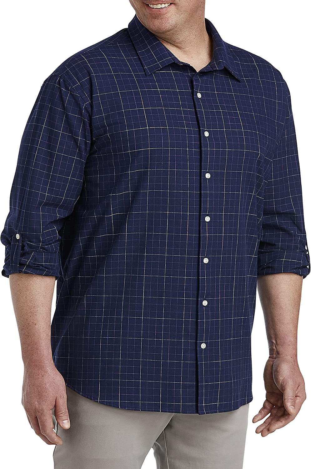 DXL Synrgy Big and Tall Grid Roll-Sleeve Sport Shirt, Purple