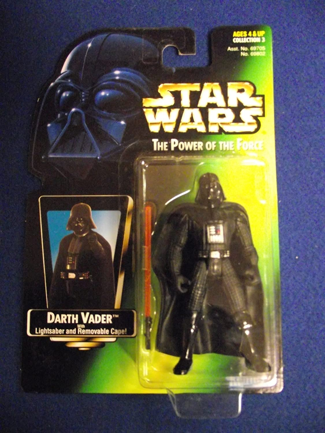 STAR WARS US POWER OF THE FORCE 2 GREEN CARD DARTH VADER WITH LIGHTSABER AND REMOVABLE CAPE