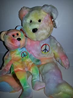 Ty Beanie Baby Set of Two - Matching Beanie Baby and Buddy - Peace Bear