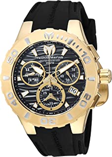 Technomarine Men's Cruise Stainless Steel Quartz Watch with Silicone Strap, Black, 26 (Model: TM-115076)