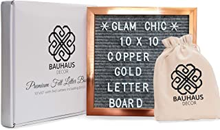 Marble Gray Felt Letter Board 10x10 inches with Metallic Copper Gold Colored Frame by Bauhaus Decor | Custom Message Board Includes 340 White Alphabet Letters, Numbers, Emojis