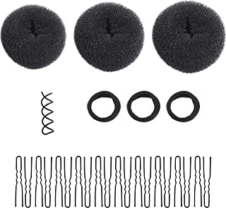 3 Piece Donut Hair Bun Maker by Ryalan, Fashion Hair Bun Making Styling Accessory DIY Hair Styling Tool for Women Girls Large, Medium and Small (Black)