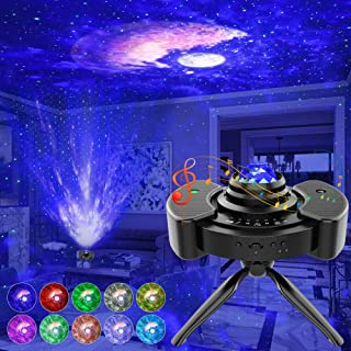 Star Projector, Night Light Projector with Stereo Speaker, Star Sky Light with Bluetooth Music Control, 14 Lighting Modes&Brightness Adjustment Starry Projector for Kids Bedroom/Game Room/Home Theatre