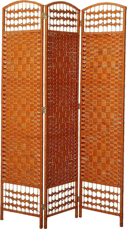 Oriental Furniture Simple Affordable Inexpensive Room Divider, 5.5-Feet Diamond Weave Rattan Style Fiber Folding Screen, Light Beige, 3 Panel Size