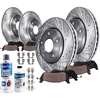 Detroit Axle - RWD V6 Front 320mm and Rear Solid Drilled and Slotted Disc Brake Kit Rotors w/Ceramic Pad Kit - V6 RWD