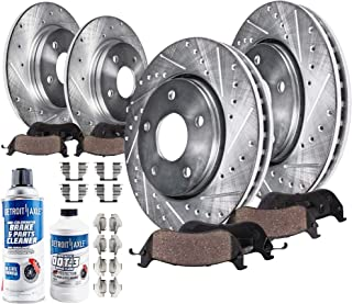 Detroit Axle - FRONT & REAR Drilled & Slotted Brake Rotors & Ceramic Brake Pads w/Hardware, Brake Fluid & Cleaner fits Accord v6 MANUAL TRANS