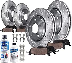Detroit Axle - All (4) Front and Rear Drilled and Slotted Disc Brake Rotors w/Ceramic Pads w/Hardware & Brake Cleaner & Fluid for 2001-2009 Volvo S60 - [1999-2006 S80] - 2001-2007 V70 - [03-07 XC70]