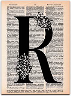 R - Monogram Wall Decor, Letter Wall Art, Dictionary Page Art Print, UNFRAMED