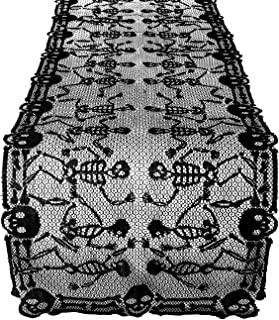 Lewondr Halloween Tablecloth Fireplace Mantle, Long Black Lace Human Skeleton Design Table Cover Runner, Flexible Polyester Tabletop Fireplace Window Decor for Dinner Party Kitchen - Black
