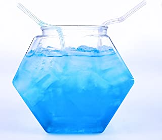 30 fl. Oz. Small Plastic Hexagon Punch Bowl for Drinks, Food Grade BPA-Free, Made in USA, Bulk 54 PCS/Case w/Lids