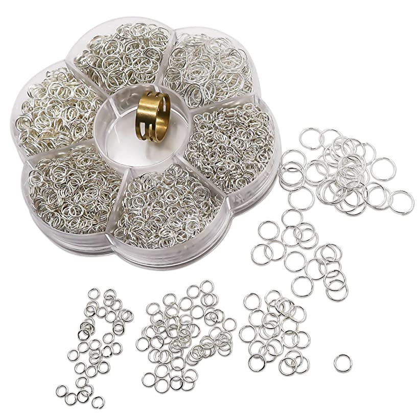 TOAOB 1500pcs Silver Tone Open Jump Rings Mixed Sizes with Opener Tool for DIY Making