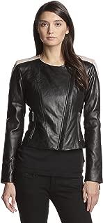 Women's Color Blocked Moto Leather Jacket