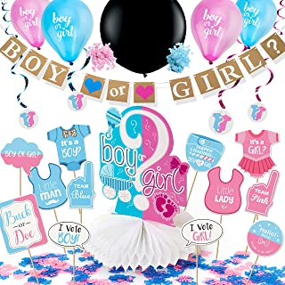 ARTIT Gender Reveal Party Supplies Baby Shower Pregnancy Announcement Decorations Kit Boy or Girl Favors Pack - Banner Centerpiece 36' Black Balloon Pink & Blue Confetti Swirls Tablecloth Photo Props