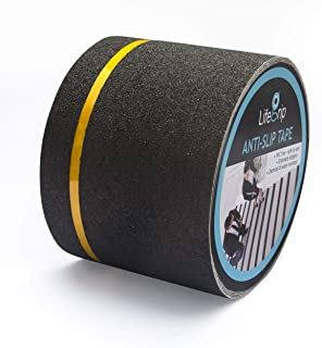 LifeGrip Anti Slip Traction Tape with Reflective Stripe, 4 Inch x 30 Foot, Best Grip Tape Grit Non Slip, Outdoor Non Skid Treads, High Traction Friction Abrasive Adhesive for Stairs Step, Black