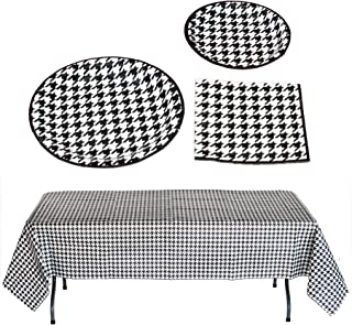 Havercamp Houndstooth Party Bundle | Dinner & Dessert Plates, Luncheon Napkins, Table Cover | Great for Engagement Party, Mother's Day, Alabama Tailgate, Classic Birthday Party, Roll Tide Fans