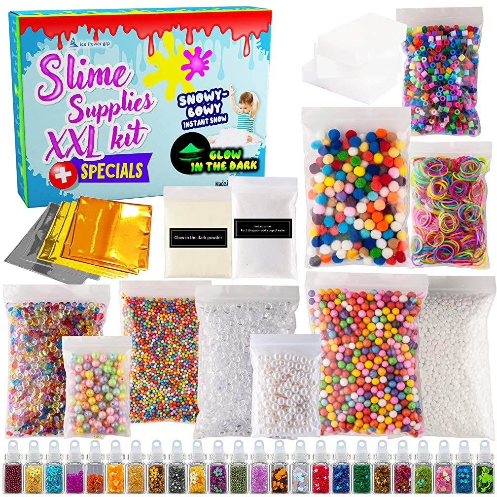 Slime supplies DIY XXL kit for boys and girls, big size 45 pack stuff and accesories to make slime party, add ins ingridients with fishbowl and foam beads, glitter jars, instant snow, glow in the dark