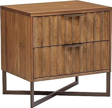 "Amazon Brand – Stone & Beam Mid-Century Modern Wood Nightstand, 24"", Brown, Metal Base"