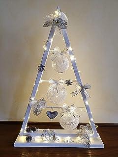 Albero di Natale in Legno, Bianco- Fiori in Cima, Decorazione Natalizio/Capodanno/Feste