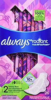 Always Radiant Feminine Pads for Women, Size 2, Heavy Absorbency, with Flexfoam Wings