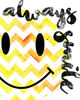 Always Smile Print 11x14, Happy Face Décor, Motivational Poster, Always Smile Inpirtational Quotes, Inspiration for Kids, Cute Décor for Kids, Yellow Chevron, Happy Design, Smile Print, Happy Smile