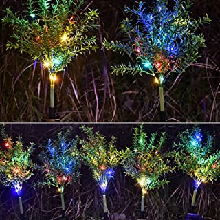 m·kvfa Waterproof 15 LED Branch Tree Garden Outdoor Multicolor Light Leaf Tree Solar Lights Christmas Lights Outdoor Fireworks Led Lawn Lamp for Christmas Thanksgiving Parties
