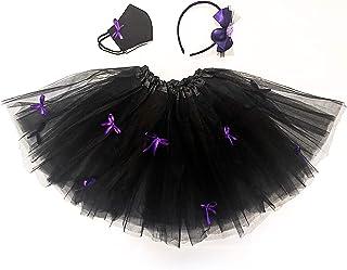 Costume streghetta bambina-Completo Halloween con Gonna tutù, Cerchietto per capelli e Mascherina protettiva