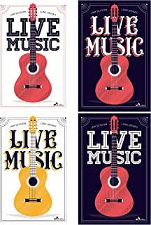 Chloe's Choice Guitar Poster Set of 4 Pictures | Classic Rock and Roll Music Gift for Home and Room | Musician Posters for Classroom Vintage Decoration | Wall Art Decor for Musicians