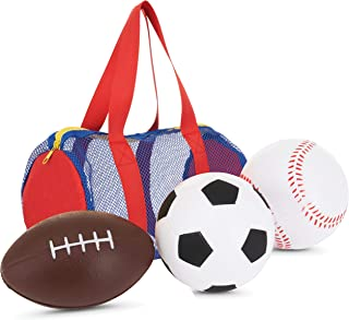 "Large Balls for Little Kids - Fun Set of 3 Sports Balls in Convenient Storage and Carry Bag - Includes 5"" Baseball, 5"" Soc..."