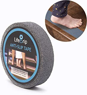 LifeGrip Anti Slip Safety Tape, Non Slip Stair Tread, Textured Rubber Surface, Comfortable for Bare Foot, Grey (1