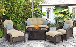Hanover NEWPT6PCFP-CRM-WG 6 Piece Newport Woven Seating Set in Cream with Fire Pit Table