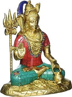 Large Shiva Statue- Mahakala Shiv in Lotus Meditating Pose- Hindu God of Trinity- Destroyer of Evil- Brass Idol with Turqu...