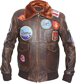 G1 Distressed Bomber Cowhide Leather Jacket