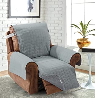 Large Recliner Chair Protector Slipcover Grey 28 Inch Soft Pet Dog Couch Furniture Slip Covers Faux Cotton Reversible Quilted Layers, Strap, For Oversized Arm Chair NOT Leather (Gray/Fog)