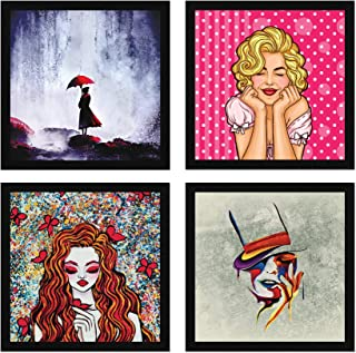 ArtX Paper Beautiful Girls Wall Art, Multicolor, Abstract, 13X13 in, Set of 4