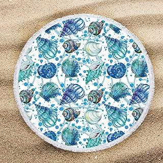 ARIGHTEX Indigo Ocean Seashell Beach Towel Spiral Aqua Turquoise Conch Shell Blanket Beach Towels for Kids Beach Gifts for Men