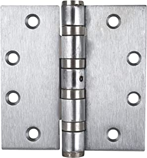 Global Door Controls 4.5 in. x 4.5 in. Brushed Chrome Full Mortise Ball Bearing Hinge with Non-Removable Pin - Set of 3