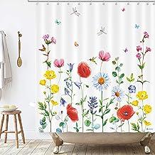 BASHOM BSC212 Wild Flowers Shower Curtain set for Kids Waterproof washable Decorative Bathroom 71''x71'' (180x180cm) Polye...
