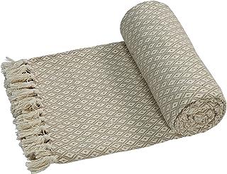 EHC–Algodón Suave Grande sofá Mantas Manta Doble Reversible Cama 150x 200cm, diseño de Silla, Color Beige