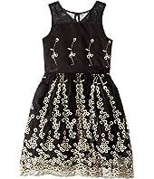 Matte Satin Dress w/ Embroidery (Little Kids/Big Kids)