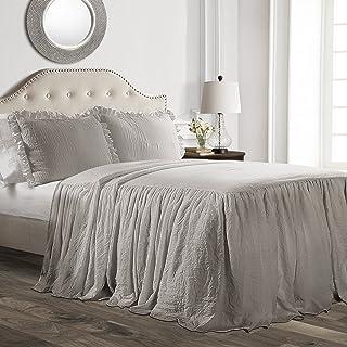 Lush Decor Ruffle Skirt Bedspread Gray Shabby Chic Farmhouse Style Lightweight 3 Piece Set, Full