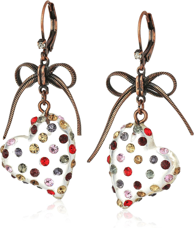 Betsey Johnson Multi Lucite Heart Drop Earrings