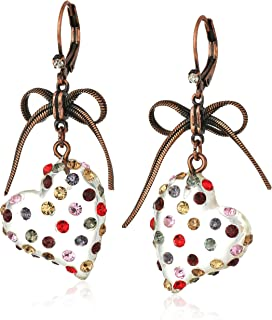 "Betsey Johnson""Confetti"" Mixed Multi-Colored Stone Lucite Heart Drop Earrings"