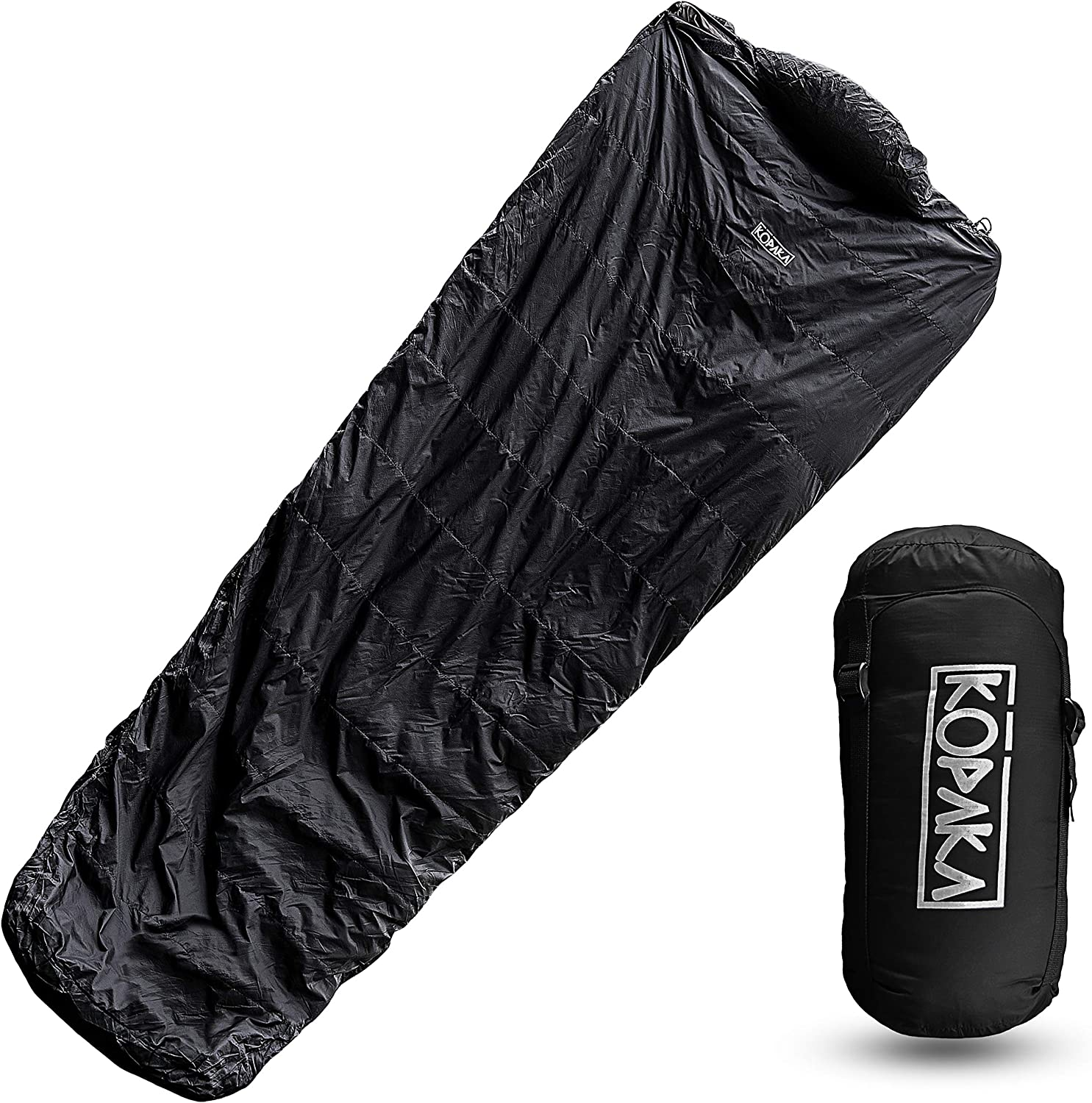 Ultralight Duck Down Sleeping Bag Ideal for Travel Camping Backpacking (Black)