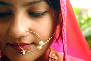 Abhika Creations White Shiny Pearls Nath, White Pearl Beaded Golden Alloy Chain Traditional Indian Nose Ring
